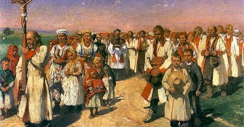 obraz - grupa ludzi w strojach regionalnych