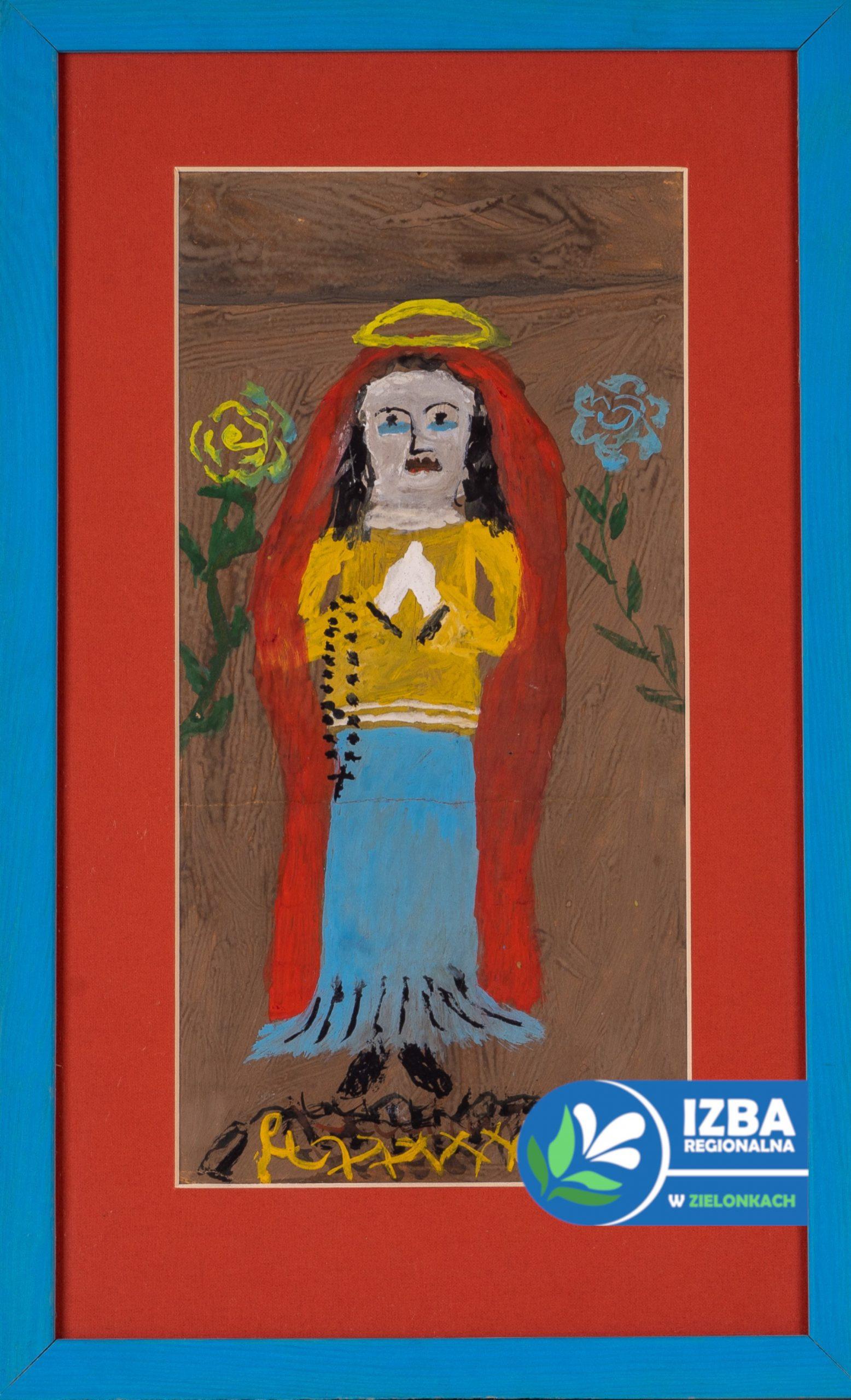 """Matka Boska"", tempera na tekturze, 35 cm x 16 cm, 1978"