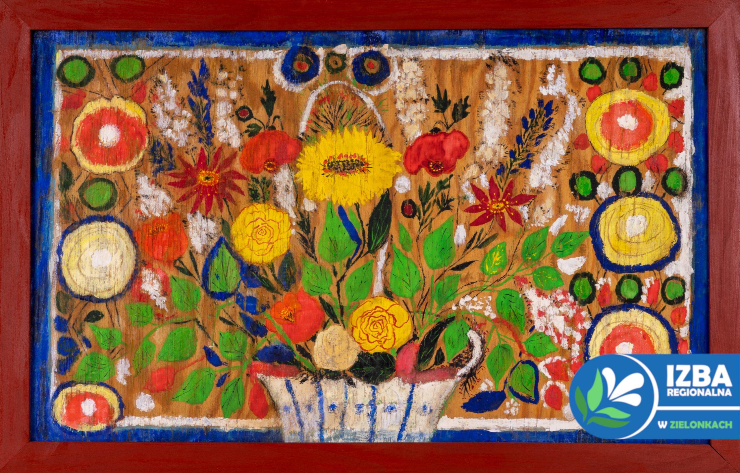 """""""Kwiaty"""", tempera na desce, 43 cm x 63 cm, lata 70 XX w."""