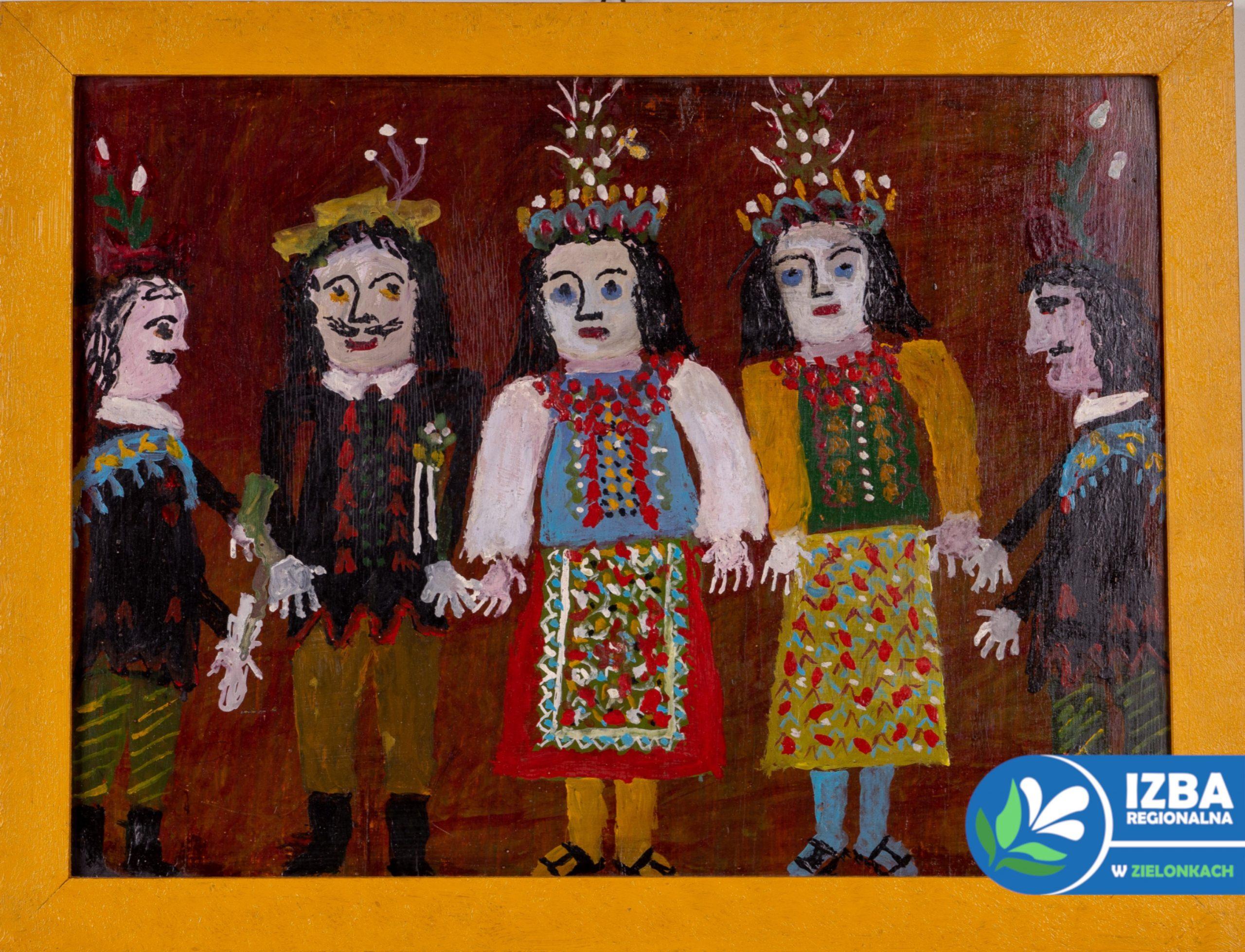 """""""Krakowiacy"""", tempera na desce, 34 cm x 45 cm, lata 70 XX w."""